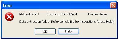 Wizard error message