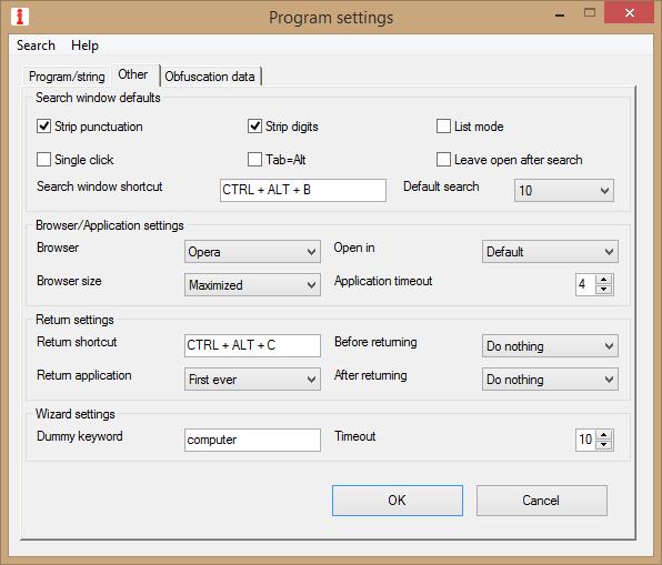 Program Settings Window - Other Settings