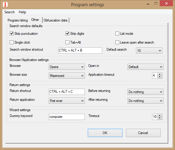 Program Settings Window - Other Settings